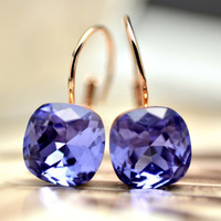 Free Shipping Italina Rigant Fashion Jewelry Wholesale 18K Rose Gold Plated Square Purple Earrings Jewelry Earrings