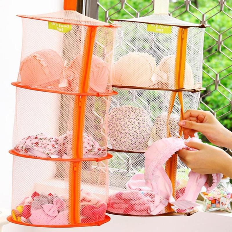 Hot Selling 3 Shelf Hanging Zipper Storage Net Organizer Bag Door Wall Closet Organize