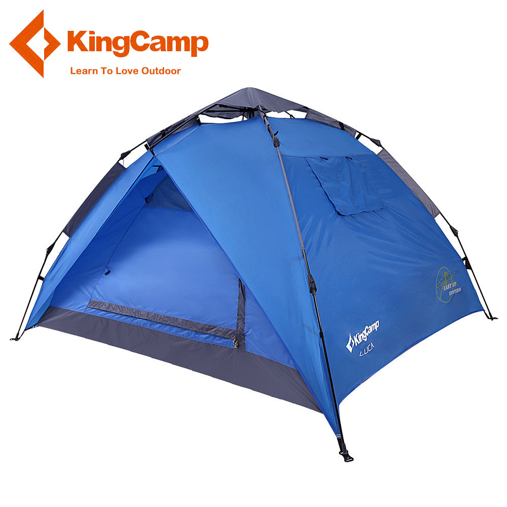 KingCamp 3-Person 2-Season Easy-up Camping Tent Portable Outdoor Double-layer Dome Tent For Hiking Trekking Blue/Green/Red цена