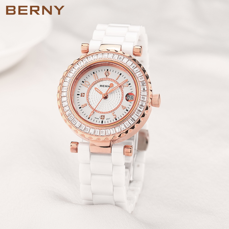 BERNY Sapphire Ceramic Watch Women White Strap Bracelet Watch Luxury Brand Diamond Crystal Rose Gold Cheap Womens Watches 2318 natural brand new gold ceramic watches shell white dial water resistant rose crystal ladies bracelet watch fw830v free gift box