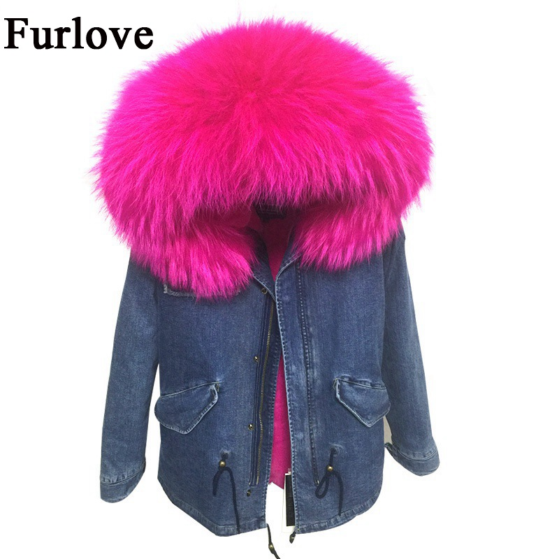 2017 New Winter Jacket Women Coat Large Real Raccoon Fur Collar Hooded Coats Detachable Faux Fur Lined Denim Parka Warm Outwear 2017 winter new clothes to overcome the coat of women in the long reed rabbit hair fur fur coat fox raccoon fur collar