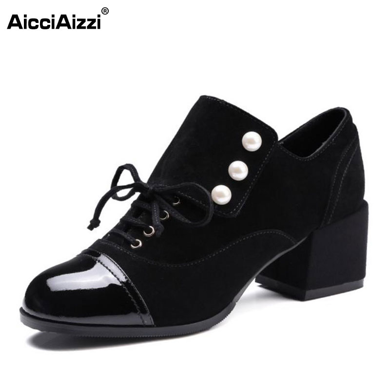 AicciAizzi Women Genuine Leather High Heels Shoes Beading Cross Strap Thick Heels Pumps Dating Party Women Footwears Size 34-39 wild lust анальная пробка 4 см черно зеленая с заячьим хвостом