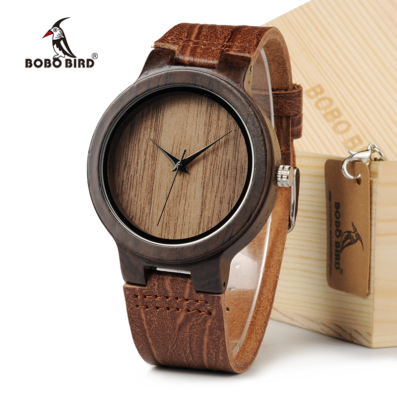 BOBO BIRD D23 Men's Top Brand Design Quartz Watches Handmade Bamboo Wooden Watches With Real Leather Band in Gift Box bobo bird top brand mens bamboo wooden elk deer wolf head watch quartz real leather strap men watches with gift box