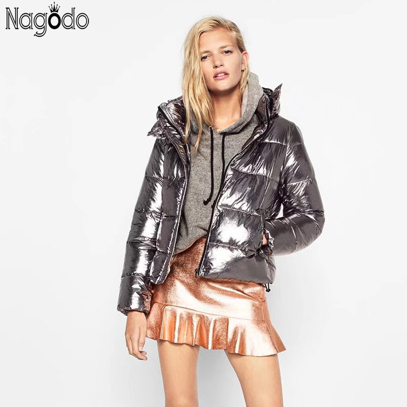Nagodo winter jacket women 2018 hot sale metallic silver thicken   parka   fashion ukraine warm short hooded coat female down jacket