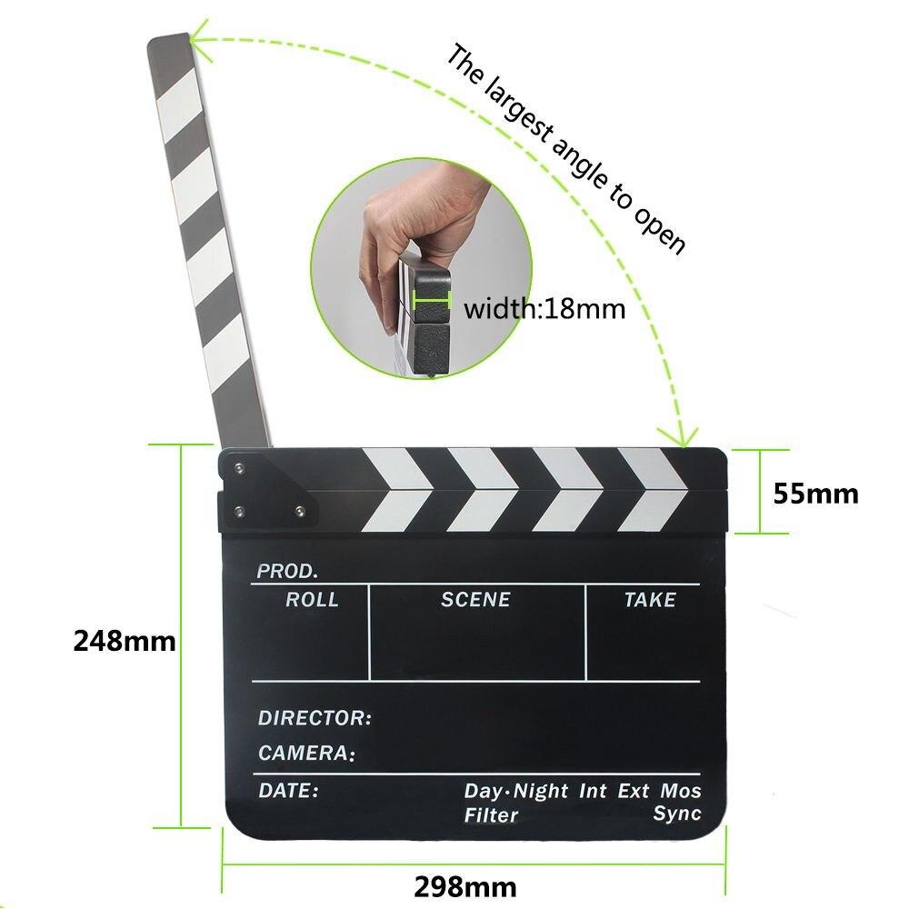 Grande taille Clap Clapper Board Acrylique Effaçable À Sec Directeur TV Film Film D'action Slate Clap Coupé À La Main Prop Aimants