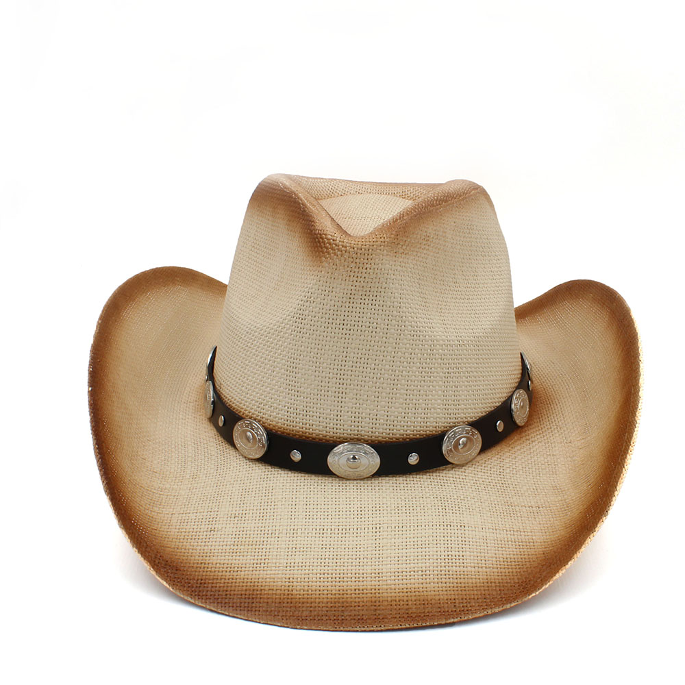 Mens Straw Cowboy Hat with Bull Head Band Dad Western Sombrero Hombre Cowgirl Keep Warm