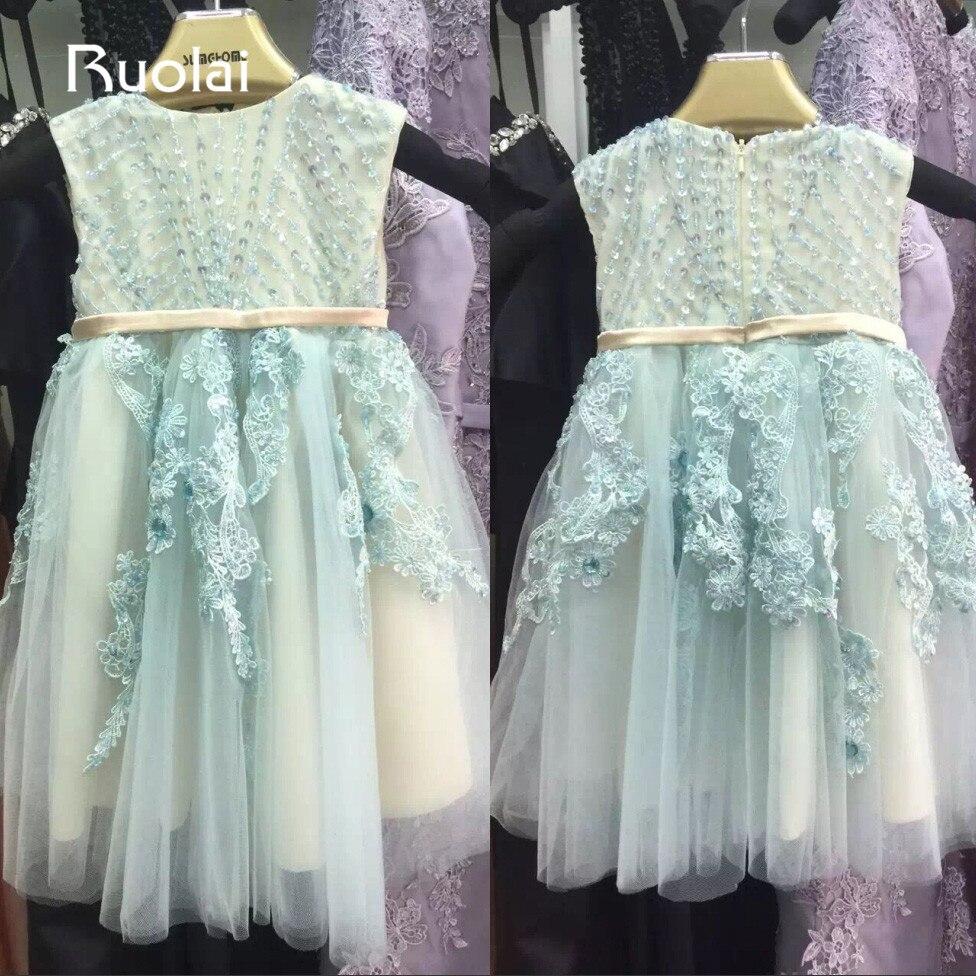 Настоящая фотография голубой совок аппликации из бисера Платья для девочек на свадьбу для маленьких Свадебная вечеринка длинные нарядные