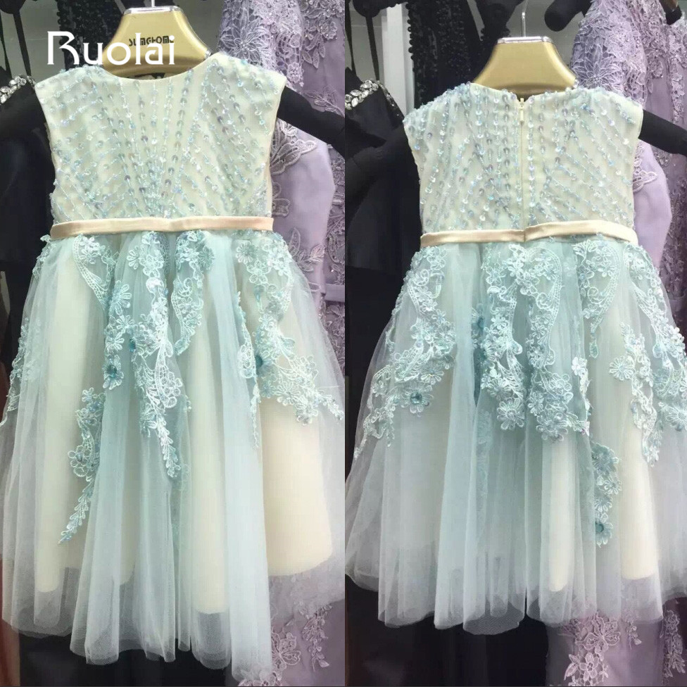 Real Photo Light Blue Scoop Appliques Beaded   Flower     Girl     Dresses   Baby for Wedding Party long pageant   dresses   for kids AFG35
