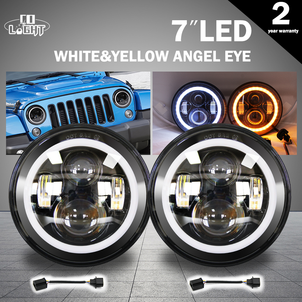 CO LIGHT 1 Pair Led Headlight 7'' 50W 30W H4 for Headlight Niva DRL for Lada Jeep Toyota 4X4 Off Road Parking Driving Lights co light 2pcs 7 inch led driving light 50w 30w h4 h13 led car headlight kit auto for jeep led head lamp bulbs dipped