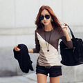 2017 Women Long T-shirt Clothes Ropa Tee Shirt Female Camisetas Mujer Black/Brown Ladies Casual T Shirt Cotton Contrast Color
