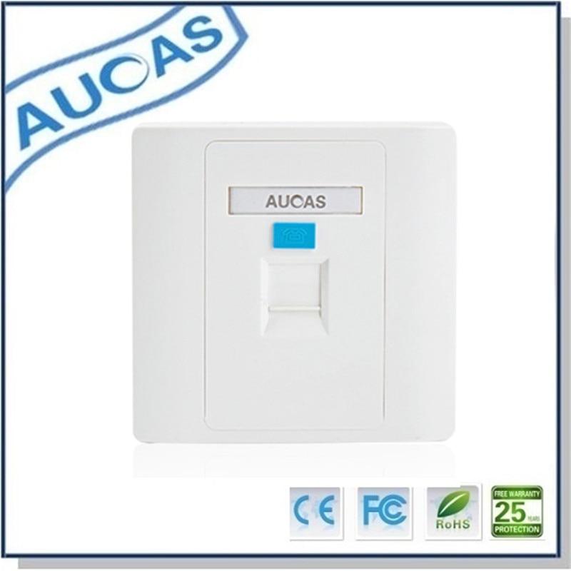 Aucas 4stk 1 Port Ansiktsplate Veggplate Frontplate RJ45 Socket - Datakabler og kontakter