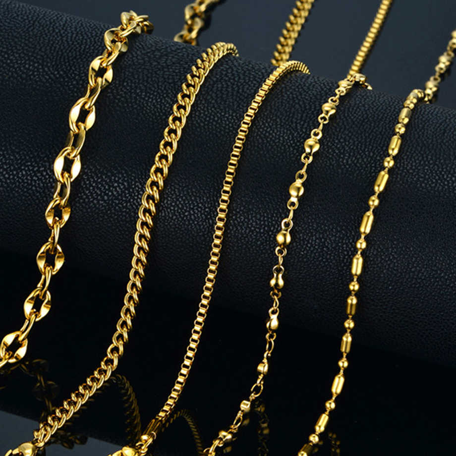 Personalize Necklaces for Women Men Gold Color Curb Cuban Bead Box Link Chain Necklace Fashion Jewelry 45-68cm U887