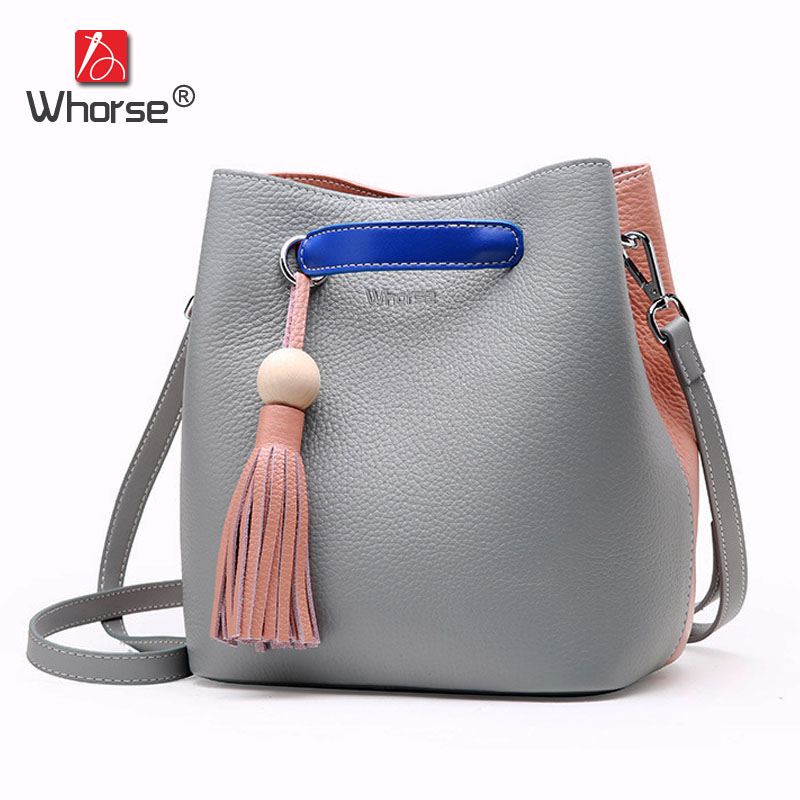 [WHORSE] Brand 100% Genuine Leather Women Handbag Fashion Design Shoulder Bags Cowhide Female Tassel Bucket Tote Bag W08990 [whorse] brand luxury fashion designer genuine leather bucket bag women real cowhide handbag messenger bags casual tote w07190