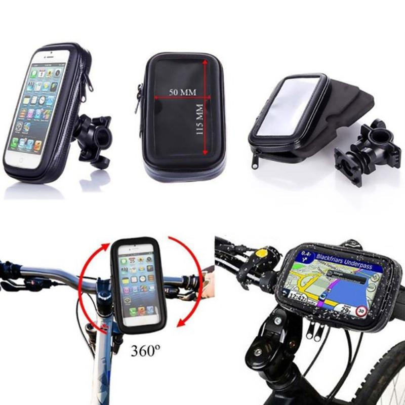 LumiParty Outdoor Waterproof Bike Bicycle Mobile Phone Stand Holder Transparment Touchable Window - 360 Degree Rotatable