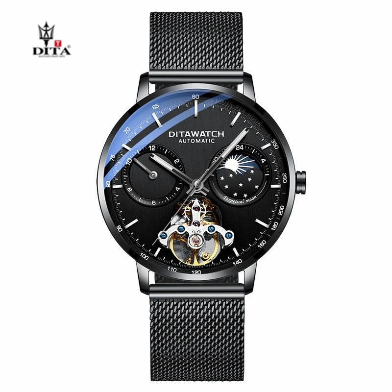 DITA Scheletro Mens Quadrante Dell'orologio di Sport di Affari Della Vigilanza Superiore di Marca di Lusso di Modo Automatico Meccanico Carnevale Orologi Orologio Pilota