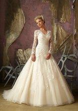 A-282 Fashion V-neckline Long Sleeve Lace Formal Wedding Dress Designer fashion luxury v neckline lace jacquard dress