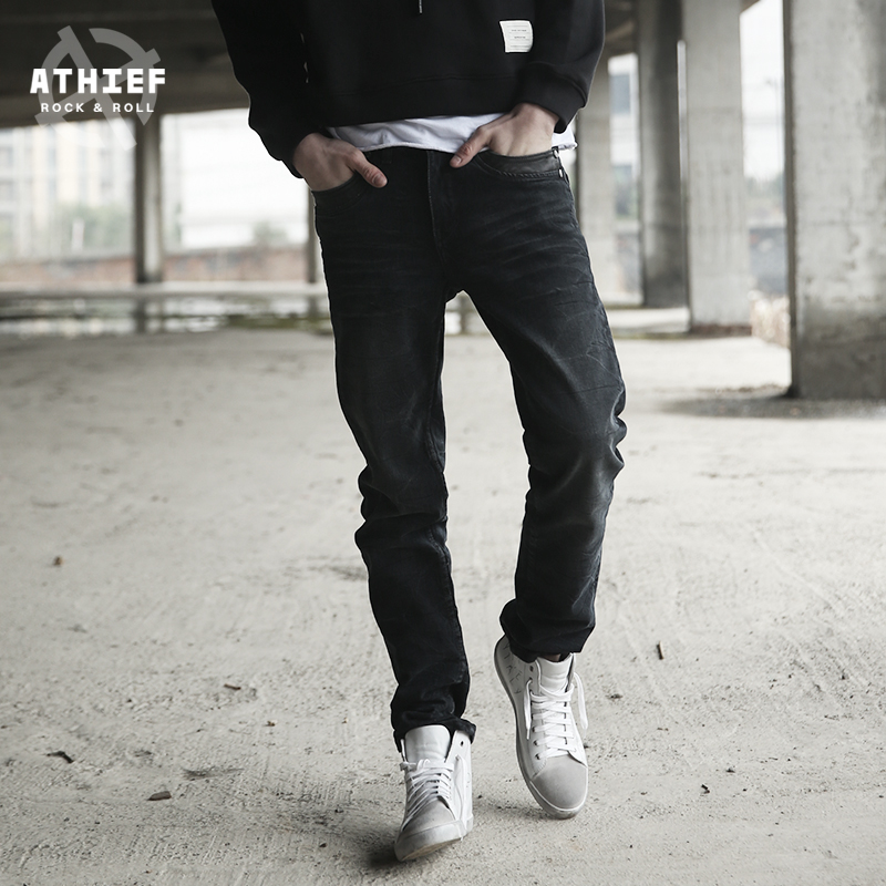 ФОТО ATHIEF Straight jeans male High waist Retro Do old Self-cultivation trousers Wash water street US-Euro Feet black Spring models