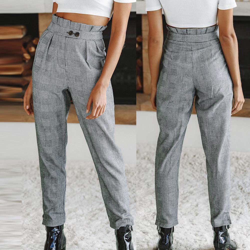 2018 Spring Sweatpants Women Casual   Pants   Women Button Fashion High Waist Stripe Print Fashion   Wide     Leg     Pants