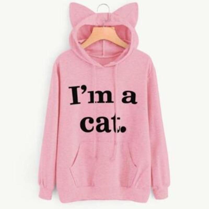 Для женщин повседневные толстовки свитшот с длинными рукавами с капюшоном кошачьи уши я Толстовки для кошек с принтом костюм верхняя одежд...