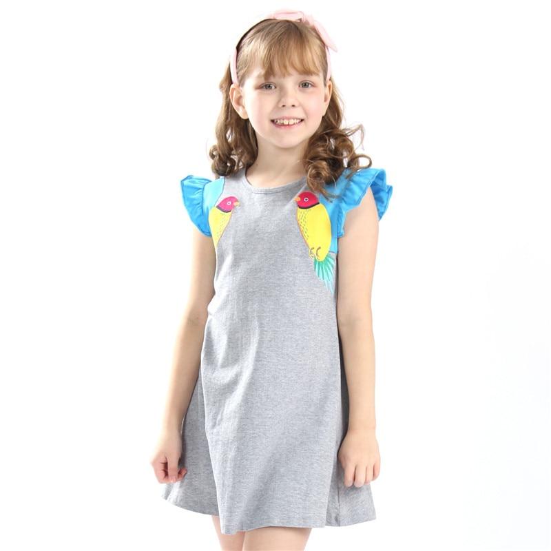 Petite Bitty bébé filles vente chaude robes de bande dessinée avec applique deux beaux oiseaux enfants sans manches d'été fille robes qualité