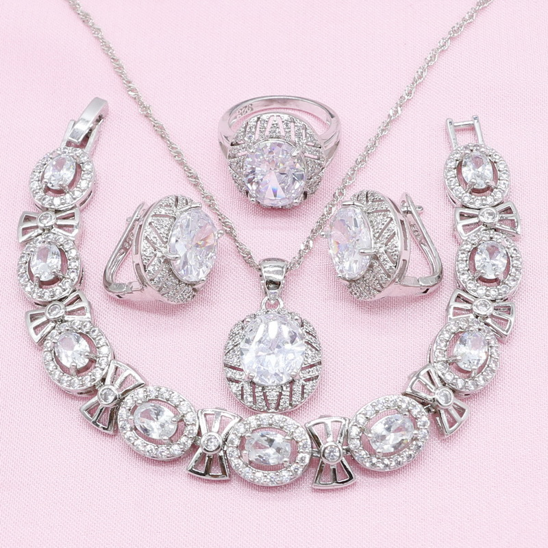 Jewelry-Sets Earrings Necklace Bracelet 925-Silver Cubic-Zirconia Pendant Ring-Wedding-Birthday-Gift