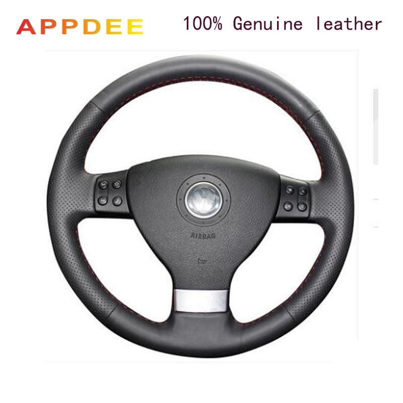 Housse de volant de voiture en cuir véritable noir APPDEE pour Volkswagen Golf 5 Mk5 VW Passat B6 Jetta 5 Mk5 Tiguan 2007-2011