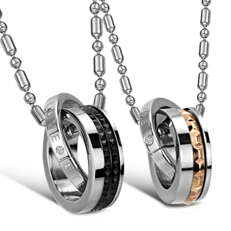 e4c6151704 Eternal Love 2 in 1 Titanium Steel His and Hers Couple Necklace Set For  Lover Anniversary Gift Fashion Jewelry Wholesale Price-in Pendant Necklaces  from ...