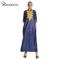 Hồi giáo Abaya Maxi Váy Thêu Lỏng Style Cộng Với Kích Thước Trung Đông Moroccan Dài Robe Dubai Hồi Giáo Hijab Vải Thổ Nhĩ Kỳ Ramadan