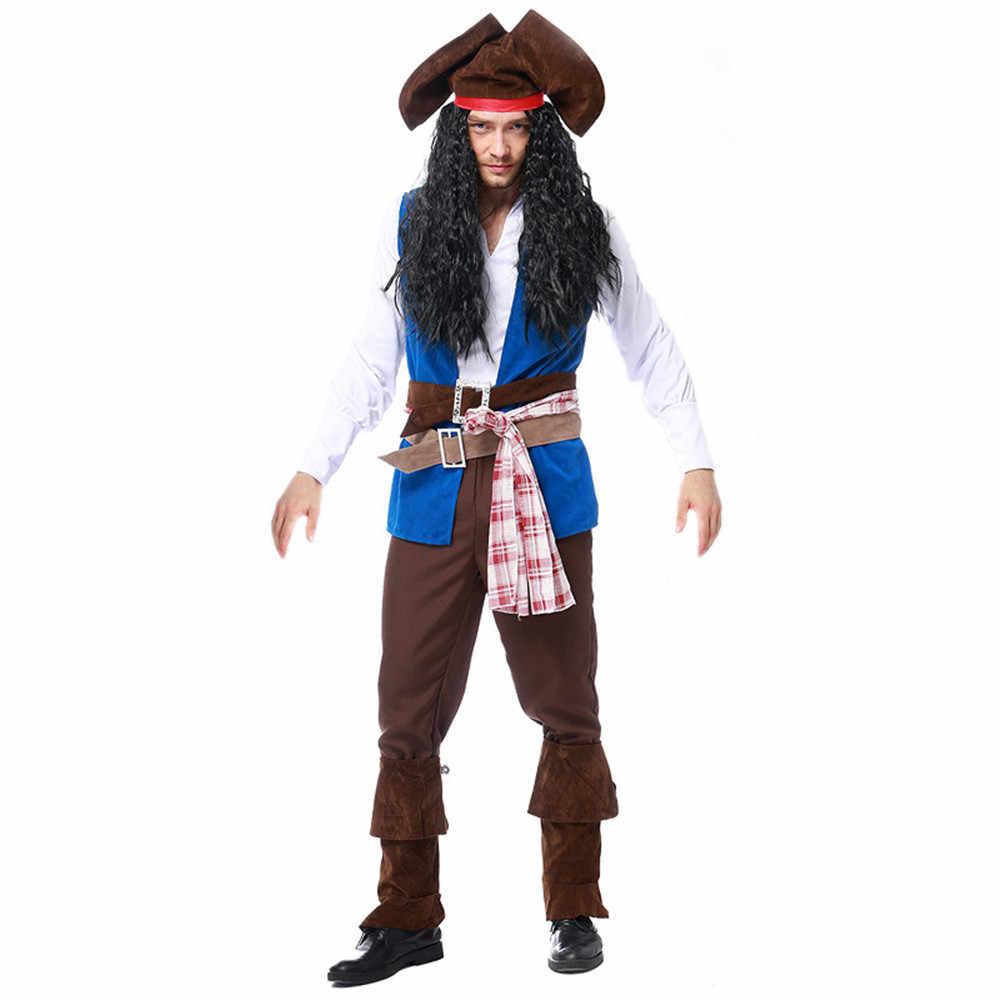 Взрослый пиратский костюм на Хэллоуин Purim Jack Sparrow косплей, карнавальный костюм нарядное платье