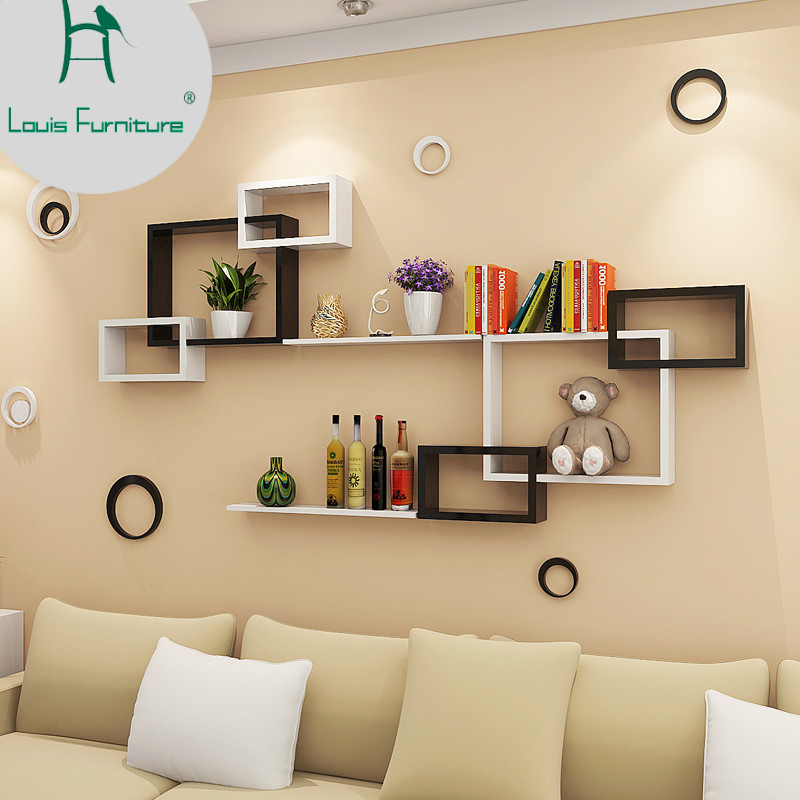 US $35.0 |Louis Fashion Panel Wall Shelf Modern Simple Hanging Creative  Plaid Living Room Dining Decorative Background-in CD Racks from Furniture  on ...