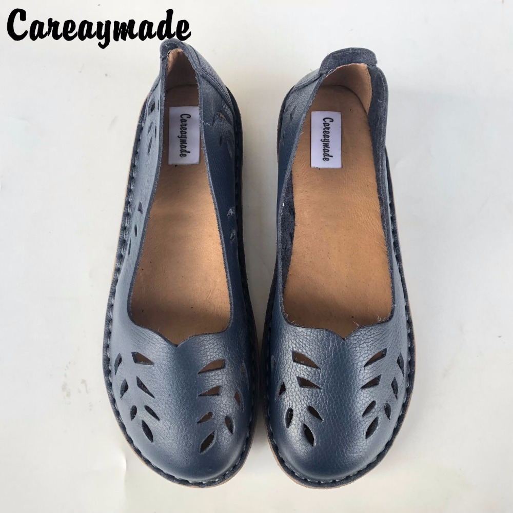 Careaymade - Hot selling,New 2018 summer Pure handmade head layer cowhide sandals,The Mori girl Hollow Casual flat women shoes huifengazurrcs new pure handmade casual