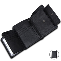 Vintage Mens Wallet Leather Genuine Small Coin Purse Large Capacity Trifold Wallet Men Short Purse With