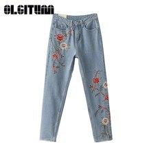 Горячая Продажа 2017 новый стиль женщин джинсовые брюки моды цветы вышивка тонкие джинсы свободные воды промывают Джинсы для женщин 2 цвета