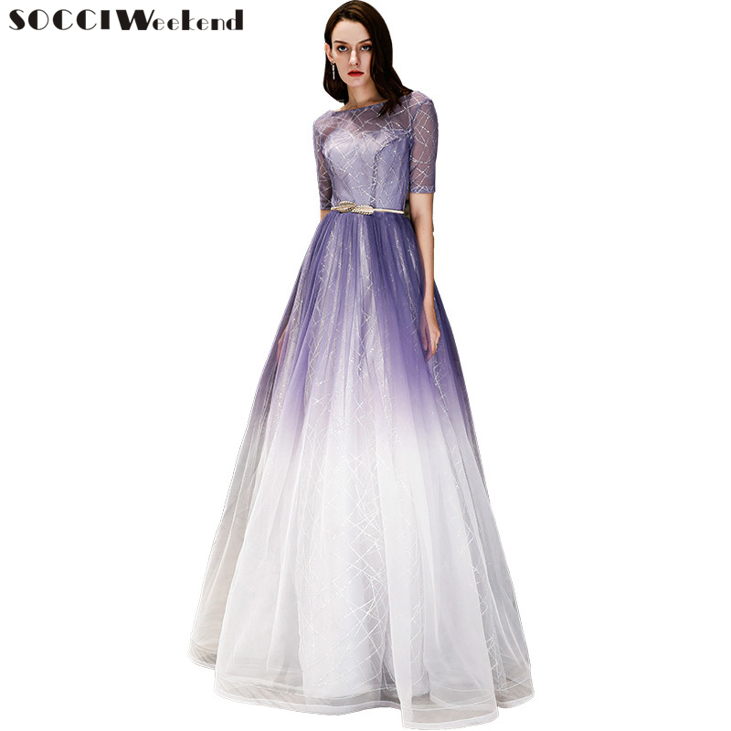 Weddings & Events Socci Weekend Stripe Sequined Evening Dresses Long Gowns Half Sleeves New Zipper Back Formal Prom Party Dress Robe De Reception