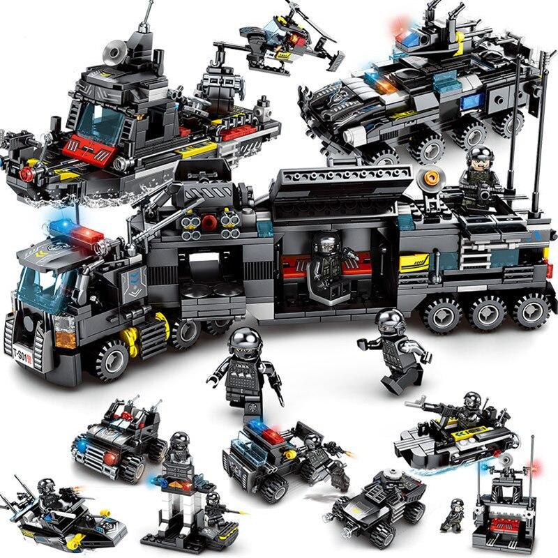 8 pçs/lote LegoINGs SWAT Da Polícia Da Cidade de Tijolos Conjuntos de Blocos de Construção Caminhão Navio Helicóptero Veículo Criador Playmobil Brinquedos para As Crianças