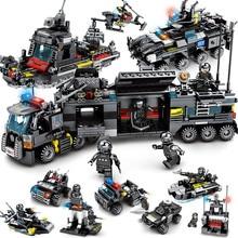 8 шт./лот LegoINGs SWAT Город Полицейский грузовик здания Конструкторы наборы для ухода за кожей корабль вертолет автомобиля кубики для творчества Playmobil игрушечные лош