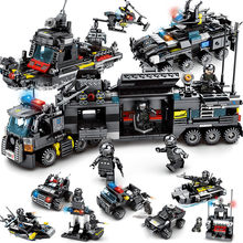 8pcs/lot LegoINGs SWAT City Police Truck Building Blocks Sets Ship Helicopter Vehicle Creator Bricks Playmobil Toys for Children(China)