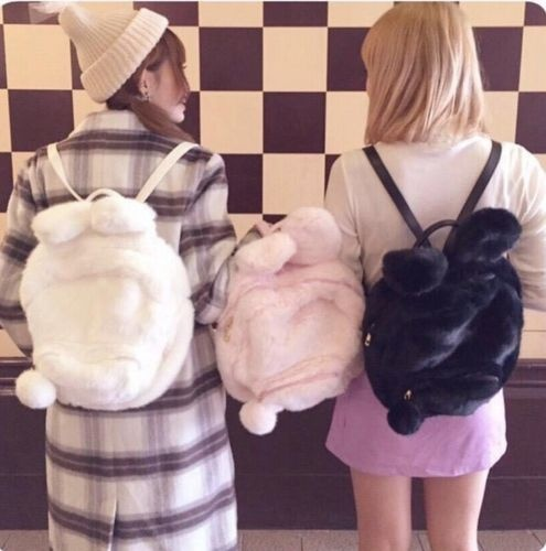 Forceful New Women Girls Harajuku Lolita Japan Style Backpack Rabbit Bunny Ear Soft Plush Bag Doll Student Book Bag Pink Black Costume Props