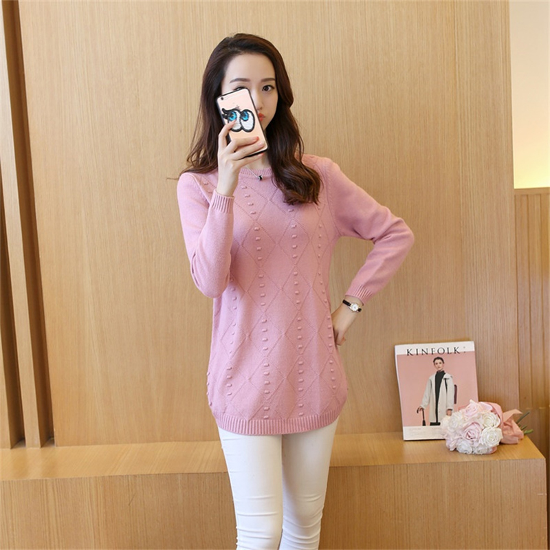 Women Mid Long Knitting Sweater 2018 Autumn Winter New Round Neck Feminino Solid Color Large Size Knitting Pullover Sweater X411