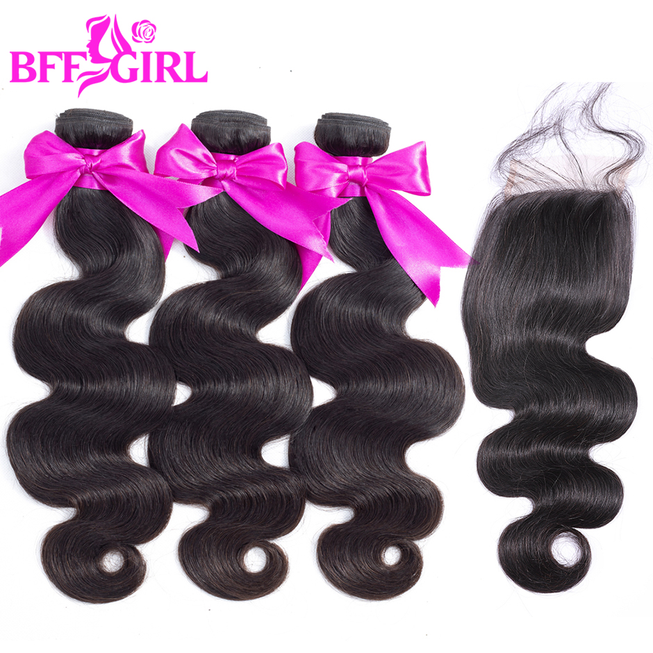 BFF GIRL Brazilian Body Wave Hair Bundles With Closure 100% Human Hair Weave 3 or 4 Bundles With Closure Non Remy Hair Extension