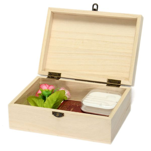 New fashion postcard storage box natural wooden with lid for Craft storage boxes with lids