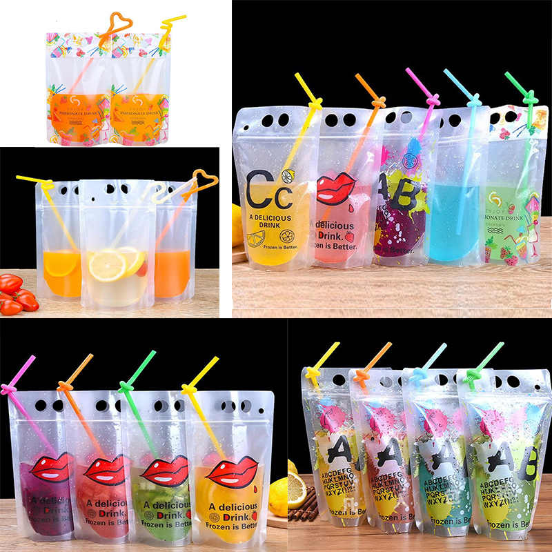13x22cm 500ml beverage bag self-sealing juice bag transparent creative tea bag thickening disposable hot and cold drink bag