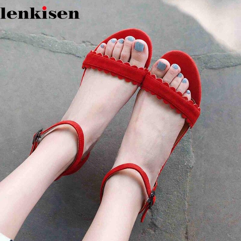 Lenkisen nouveau kid daim volants dentelle travail fleur med talons boucle sangle peu profonde streetwear doux femmes quotidien coloré sandales L17
