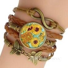 Модный плетеный медный браслет с подсолнухами Ван Гога ручной