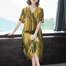 Silk dress female 2019 summer new retro loose v-neck striped print short-sleeved large size M-4XL high quality vestidos