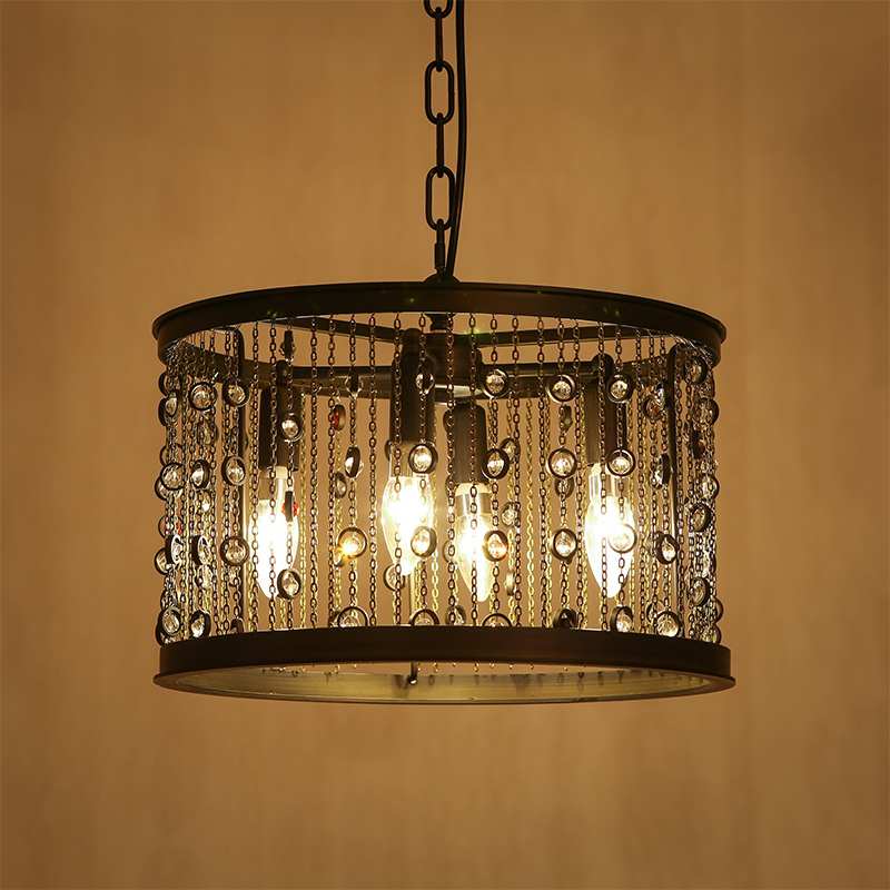 Z American Vintage LED Crystal Candle Chandelier Iron Tassel Industrial Light Circular Restaurant Bar Crystal Lamp Living Room vintage clothing store personalized art chandelier chandelier edison the heavenly maids scatter blossoms tiny cages