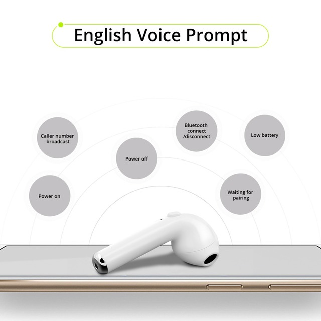 FONKEN Wireless Bluetooth Earphone TWS i7 In-Ear Wireless Earbuds With Mic Portable Sport Mobile mini Earpiece with Charge box