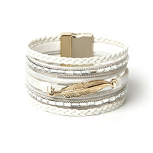 ORNAPEADIA Summer New Jewelry Top Sell Bohemia Multilayer bracelet Ethnic Feather Accessories Woven Leather Bangles for women