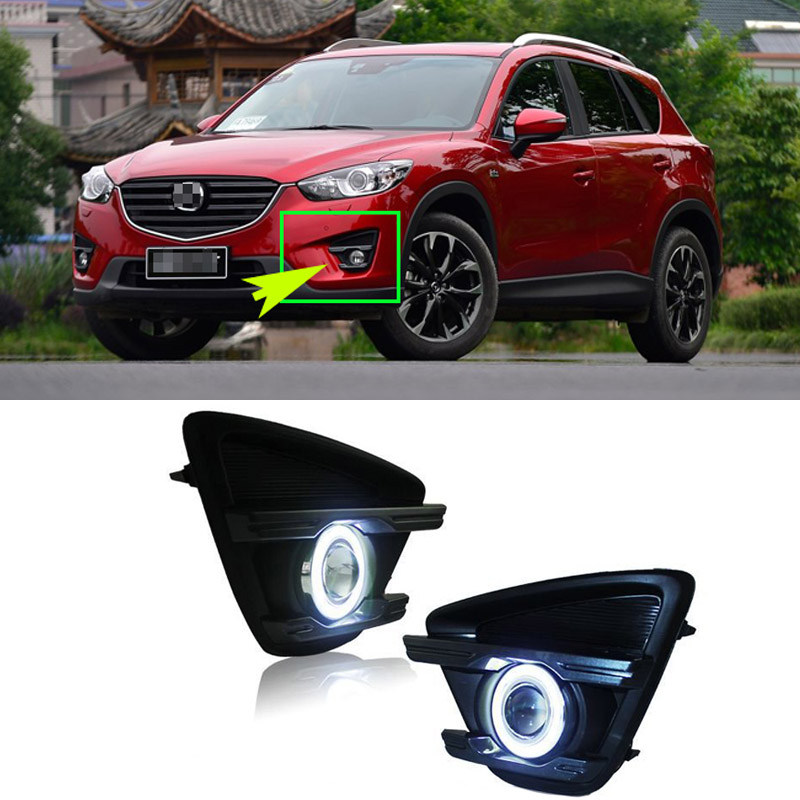 Ownsun Superb 55W Halogen Bulbs COB Fog Lights Source Angel Eye Bumper Cover For Mazda CX-5 2013-2015 oem fog lights halogen lamp kit for 2016 mazda cx 5 ka0h v4 600