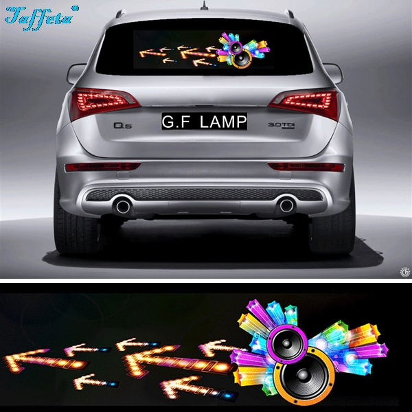 90*25cm Horn Flash Car Sticker Music Rhythm Light LED EL Sheet Lamp Sound Music Activated Equalizer